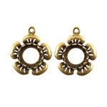 Bronze Plate Flower Pendant Setting - Round 8mm
