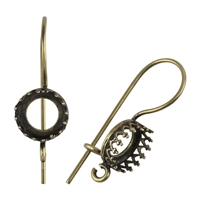 Antique Brass French Earwires - Bezel Gallery Setting with Loop - 8.5mm 1 Pair