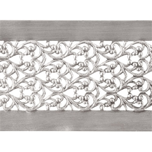 Patterned Strip - 935 Sterling Silver - Floral Ribbon - 6 inches