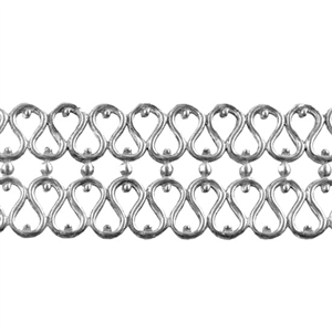 Patterned Strip - 935 Sterling Silver - Double Serpentine - 6 Inches