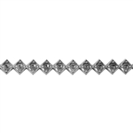 Patterned Strip - 935 Sterling Silver - Jeweled Diamond - 6 Inches