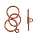 Copper Plate Mini Toggle Clasp - 3 Rings 12mm