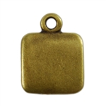 Antique Brass Plate Blank - Square Pendant - 9mm