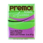 Premo Accent Sculpey Polymer Clay - Bright Green Pearl 2 oz block