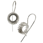 Silver Plate French Earwires - Bezel Gallery Setting - 10.5mm