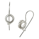 Sterling Silver French Earwires - Bezel Gallery Setting - 8.5mm 1 Pair