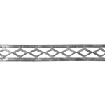 Patterned Strip - 935 Sterling Silver - Edged Diamonds - 6 Inches